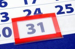 31st in red on calendar